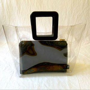 Staud Shirley clear/black tote bag 2 piece